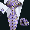 LS-572 2016 Hot New Men`s Tie 100% Silk Plaid Jacquard Woven Classic Tie+Hanky+Cufflink Set For Formal Wedding Business Party