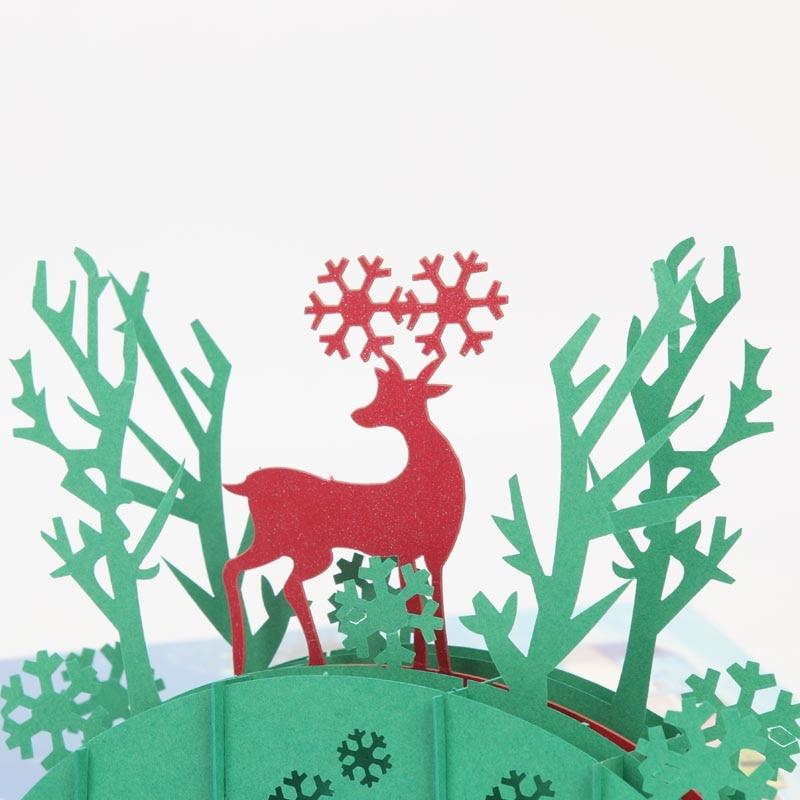 Tree Vintage Merry Christmas Reindeer Vintage Greeting Cards laser ...
