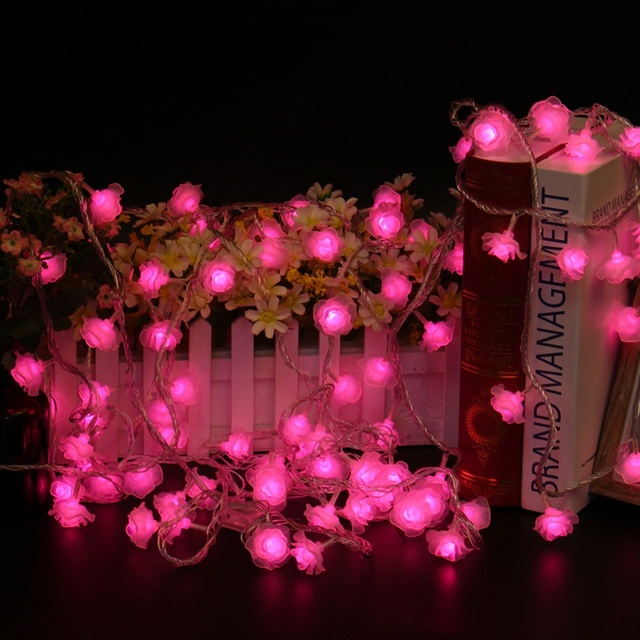 10m 100 led holiday light love rose led string lighting valentine day flower party wedding - Valentine String Lights