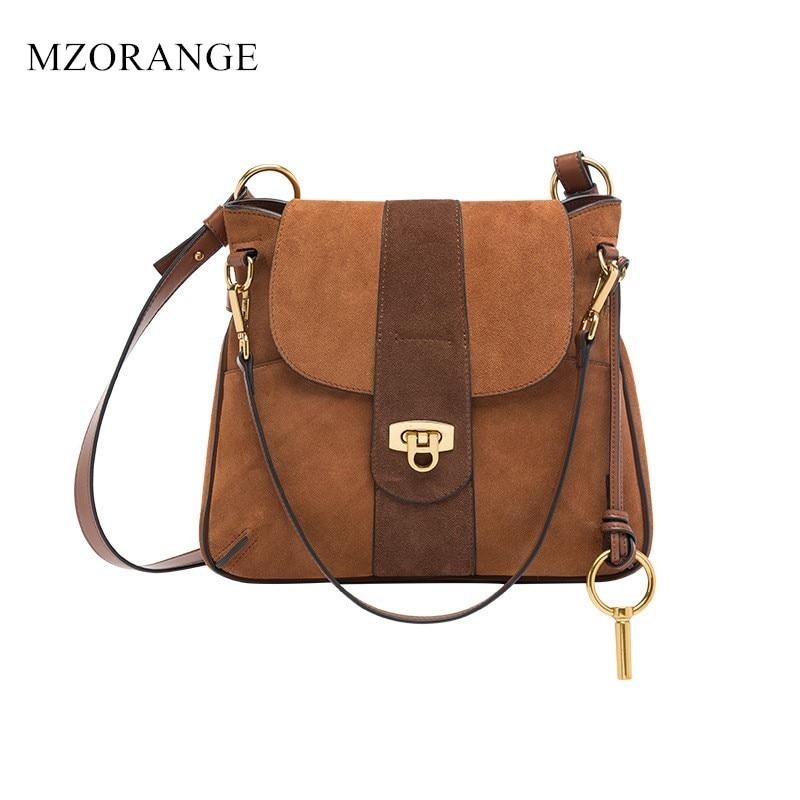 Vintage Suede Genuine Leather Women Handbags Shoulder Bag Female 2018 Top Quality Lady Messenger Bags Fashion design Saddle bags