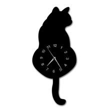 Japoński urocza czarny kot wahadło zegar zabawny kot Fnny kot Swinging ogon ściany zestaw do zegara kot dekoracje ścienne kotek miłośników prezent tanie tanio Zegary ścienne QUARTZ Igła GIT-023#B Z tworzywa sztucznego 30cm Krótkie Streszczenie Salon Antique style Oddziela GEOMETRIC
