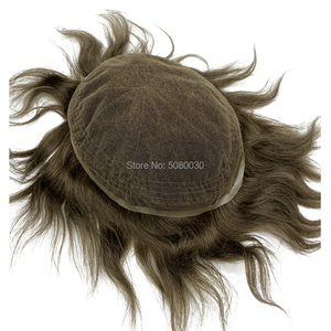 Image 3 - Pelucas para hombre de tupé, línea de pelo natural, encaje suizo completo, tamaño 8*10 pulgadas, sistema de cabello en stock, cabello humano remy