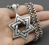 Argento di alta qualità uomini biker ebraica stella di david ciondolo collana gioielli in acciaio inossidabile con oro catena del freddo mens dei monili