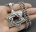 High Quality Silver Men Biker Jewish STAR OF DAVID Pendant Necklace Stainless Steel Jewelry With Gold Chain Cool Mens Jewelry