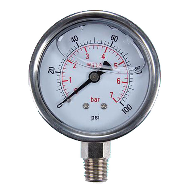 SP 60mm 0-100 Psi Radial Stainless Steel Manometer Liquid Filled Pressure Gauge Air Oil Water Hydraulic Pressure Gauge 1/4 NPT
