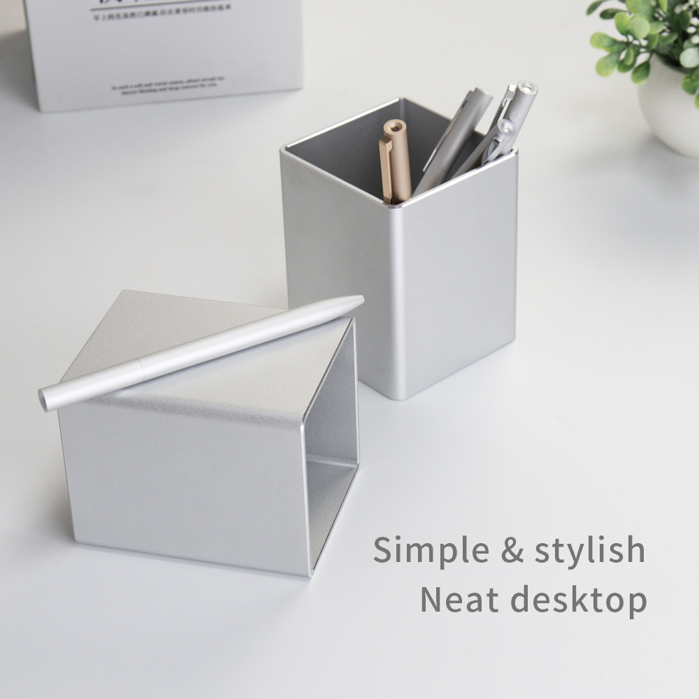 Metal Pencil Pen Holder Desk Aluminum Supplies Organizer and Cup Storage Stationary Sturdy