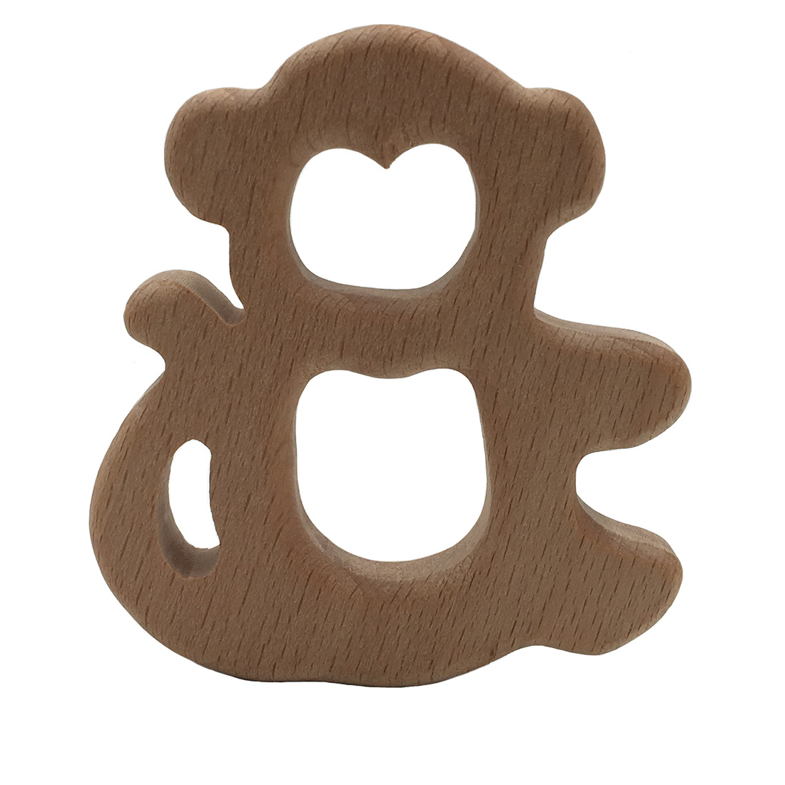 Monkey Wood Teething Toy For Baby Rattle Teething Ring Natural Wooden Teether Teething Baby Gender Neutral Shower Easter Gift