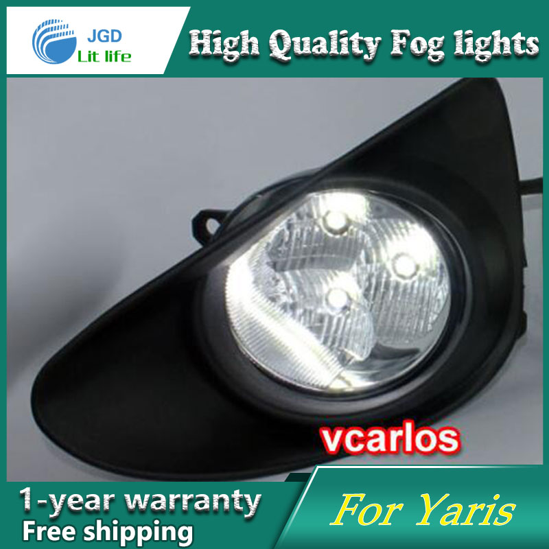 2PCS / Pair LED Fog Light For Toyota Yaris 2012 High Power LED Fog Lamp Auto DRL Lighting Led Headlamp 2pcs pair led fog light for toyota corolla axio 2007 high power led fog lamp auto drl lighting led headlamp