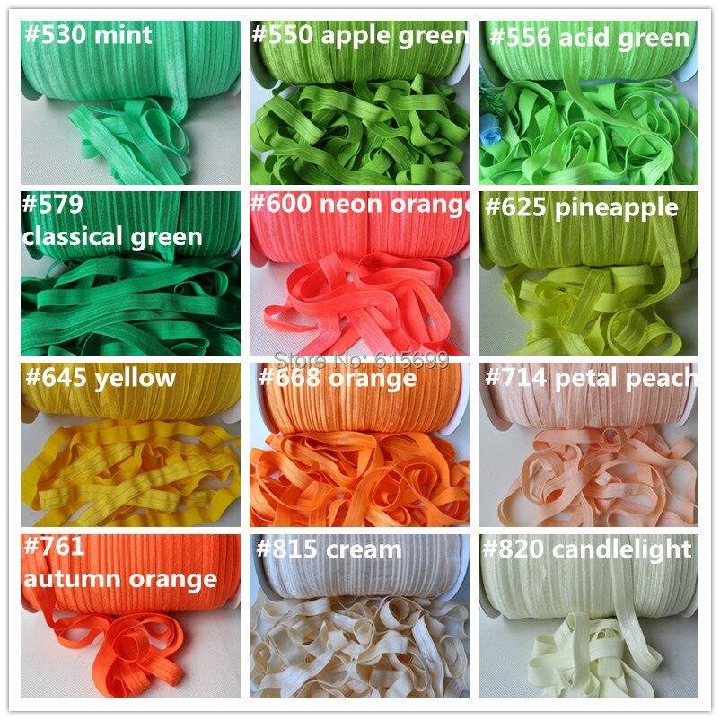 Ev ve Bahçe'ten Şeritler'de Ücretsiz DHL/Toptan Katı elastik fazla fold 51 renk başına 100 metre renk bantlar saç aksesuarları'da  Grup 3