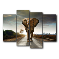 Vintage 4 Panel Elephant Animal Paint Poster Abstract Canvas Painting Wall Art for Living Room Wedding Home Decor No Frame