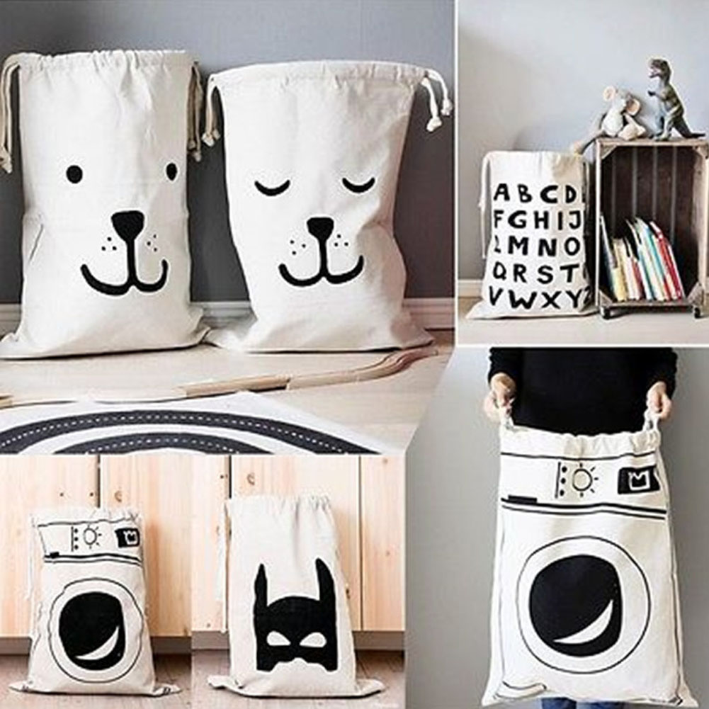 1Pcs! Large Travel Bedroom Baby Toys Storage Canvas Laundry Bag Hanging Drawstring Sack
