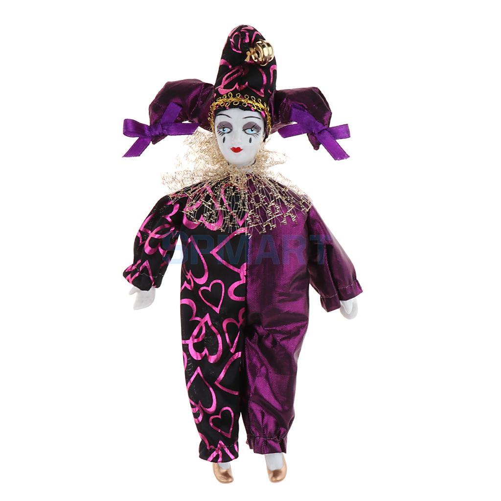 9 Inch Porcelain Dolls Italian Eros Triangel Dolls Model Sad Clown For Dollhouse Decoration