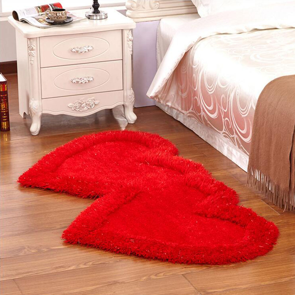Love Elastic Bright Wire Silk Carpets Double Heart Mats Thick Mats Carpet Area Rugs Floor Mats For Living Room Bedside AlfombrasLove Elastic Bright Wire Silk Carpets Double Heart Mats Thick Mats Carpet Area Rugs Floor Mats For Living Room Bedside Alfombras