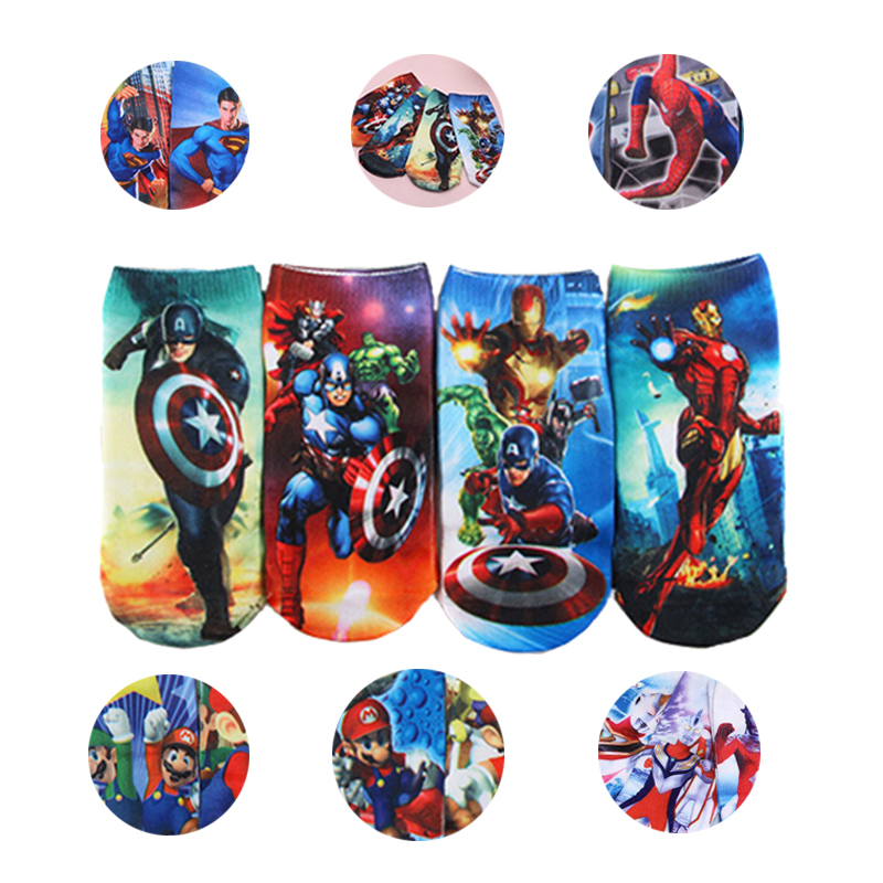 4 Pairs Infant Kids Cartoon Socks Boys Marvels Socks 2-8 T Child Iron Man SpiderMan Socks Captain America Cartoon Boat Socks Set