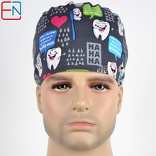 Hennar men surgical caps in grey with tooth and toothbrush 100% cotton dentist caps