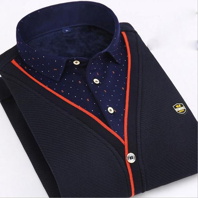 Plus Size L-4XL Hombres Camisa de Los Hombres de Invierno de Terciopelo Caliente de Espesor nueva Marca de Rayas A Cuadros Ocasional Del Remiendo Camisa Fit Chemise Homme