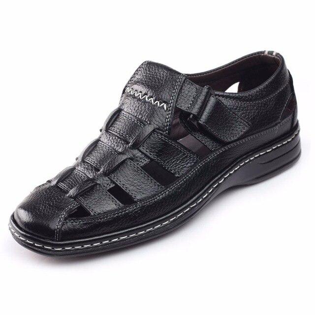 Новый Дизайн, Натуральная Кожа Мужчины Сандалии Черный Коричневый Ручного Шитья Мужчины Летняя Обувь Дышащий Пляжная Обувь Летние Мужчины Обувь 663