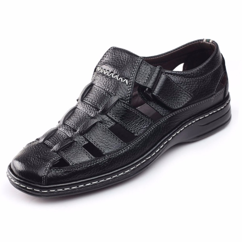 New Design Cow Leather Men Sandals Black Brown Hand Sewing Men Summer Shoes Breathable Beach Shoes