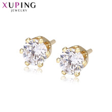 Xuping Simple Elegant Earrings Studs with Synthetic Cubic Zirconia Jewelry for Women Valentine's Day Gifts S28-21782(China)