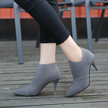 цены на Women Boots Shoes Woman High-heels Pumps 2018 Autumn Spring New Fashion Pointed Stretch Fabric Riding Boots Sexy Plus Size 34-41  в интернет-магазинах