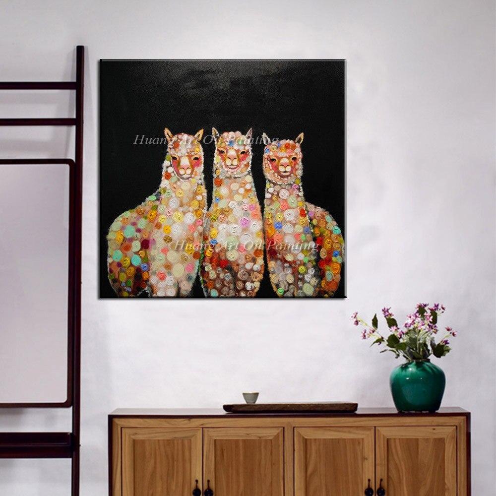 Handgefertigte Abstrakte Drei Alpaka Ölgemälde Auf Leinwand Für Wohnzimmer  Dekor Handgemalte Moderne Abstrakte Tier Black Paintings In Handgefertigte  ...