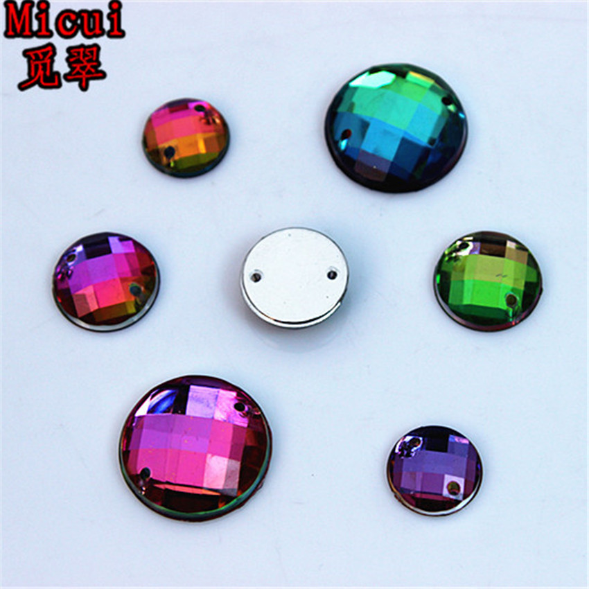 Micui 150pcs 10/12/16mm Rainbow Color Round Acrylic crystal Rhinestones Beads Stones DIY Accessores Sew on 2 Hole ZZ370ABC