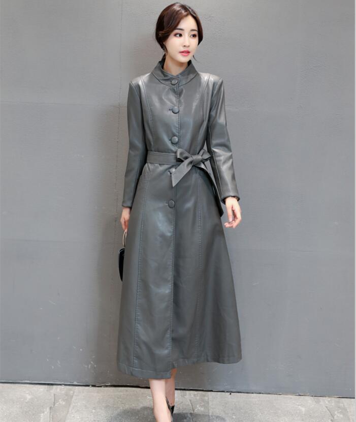 Oeaid X De Plus Veste Noir En Automne long Dames 2018 Femmes vert Nouveau rouge Et Vestes 4xl gris La Cuir Manteau 3xl Taille Mince Manteaux PwPtOr