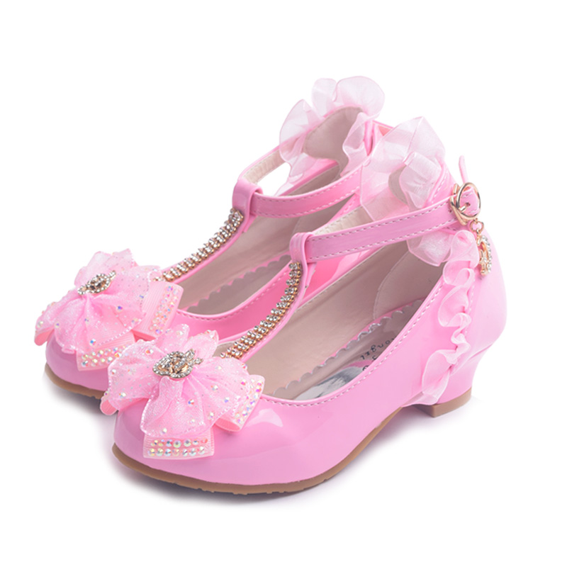 ULKNN Kids Shoes For Girl Dress Wedding Rhinestone Love Heart Pattern Butterfly Lace Mary Jane High Heel Children Princess Shoes