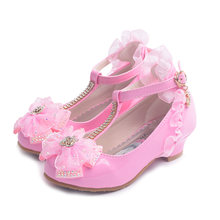 ULKNN Kids Shoes For Girl Dress Wedding Rhinestone Love Heart Pattern Butterfly Lace Mary Jane High Heel Children Princess Shoes(China)