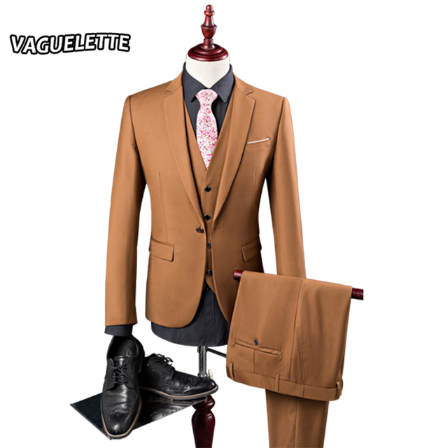 (Chaqueta + Pants + Vest) Trajes Para Hombre de Color Caqui de La Vendimia Hombres de Lujo Ropa de la Etapa Flaco Boda Del Novio tres Piezas Traje M-2XL