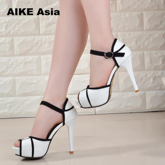 Summer Hollow Buckle Women's Shoes European And American Fight Color Fish Mouth Fine With High Heels Young Daily Shoes #A6619 1