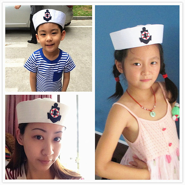 184686510c65e Adult kids sailors Party Cosplay Military Hats White Navy Marine Captain Cap  With Anchor Sea Boating Nautical Children Hat