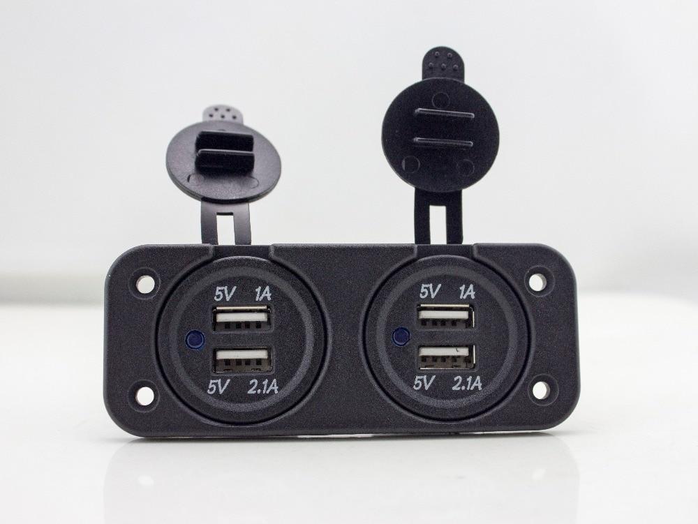 bilder für 2 dual usb ports ladegerät für motorrad roller atv boat 12 v 2a wasserdichte steckdose netzteil mit panel