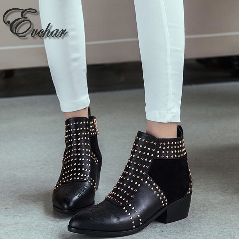 ФОТО popular design pointed toe thick square heel riding rivets women Martin ankle boots fashion genuine leather size 34 43