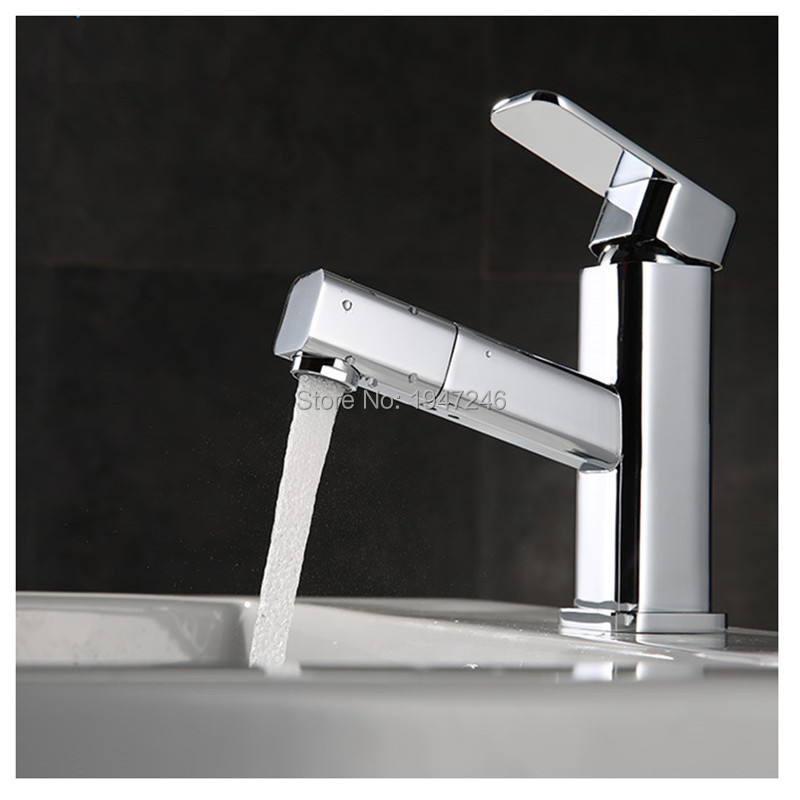 2015 New Design High Quality Solid Brass Single Handle Sink Mixer Gooseneck Tap Pullout Kitchen Faucet