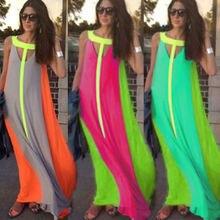 Seksi Bayanlar Yaz Uzun Maxi BOHO Akşam Kulübü Parti Uzun Elbise Gevşek Plaj Elbise Sundress 2016