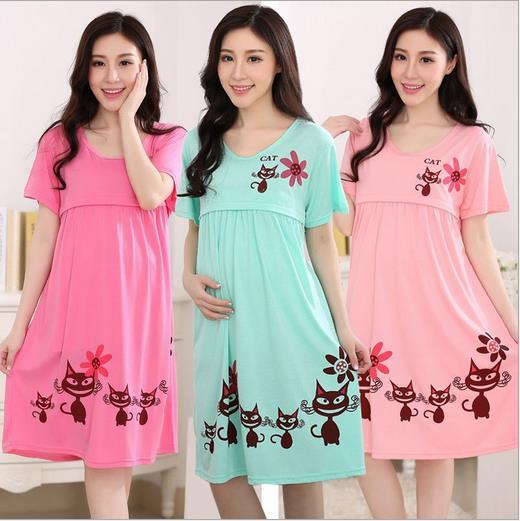 2016 summer Women Lovely Pregnant Large kittyLactation Nursing Clothes Maternity Dress Letters Print Summer Cotton Sleep Wear