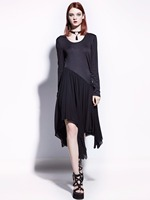2017 Goth Asymmetrical Dress Long Sleeve Black O Neck Autumn Patchwork Slim Dresses