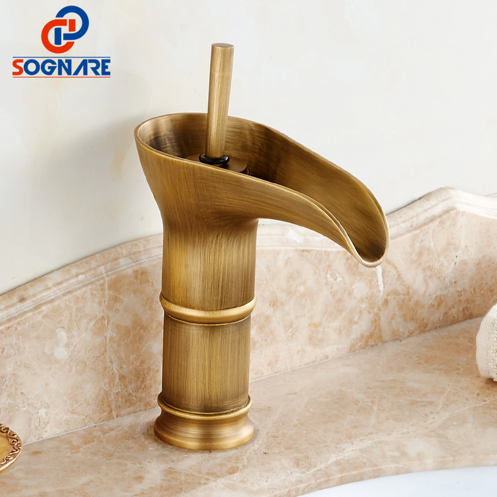 все цены на SOGNARE Bathroom Faucet Brass Antique Faucet Mixer Tap Waterfall Vintage Faucet Sink Tap ColdHot Basin Mixer china sanitary ware