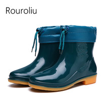 Rouroliu Women Non-Slip Ankle Rainboots Autumn Winter Female PVC Water Shoes Wellies Waterproof Blue Boots Woman RT362