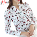 gkfnmt Women Tops 2017 New Summer Casual Long Sleeve V-Neck Fashion Women Blouse Chiffon Print Korea Blouses Big Size S-2XL