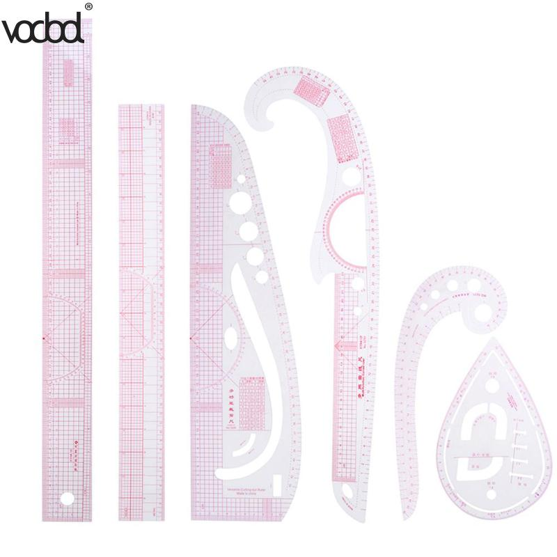 New 6pcs/set DIY Clothing Sample Grading Sewing Tailor Rulers Curve Cutting Multifunctional Plastic Patchwork Ruler For Students