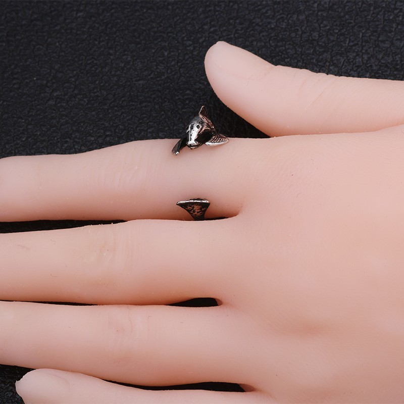 Vintage Silver Titanium Steel ring Gothic Punk Carp Fish Ring Hip Hop Personality Animal Jewelry Opening Adjustable Ladies Ring in Rings from Jewelry Accessories