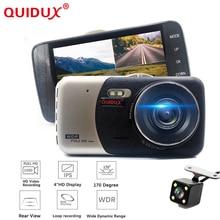 Quidux Видеорегистраторы для автомобилей 4 дюймов IPS Экран Авто Камера Двойной объектив FHD 1080 P регистраторы видео Регистраторы Ночное видение g-сенсор регистратор
