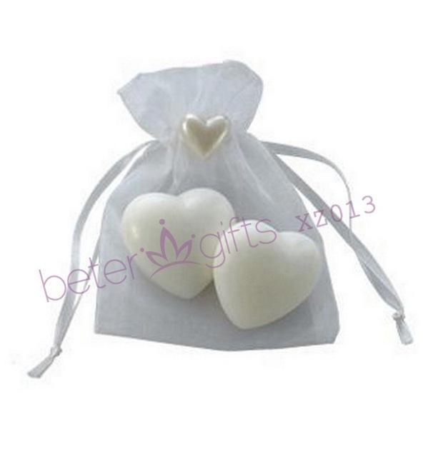 50bag XZ013 Mini Heart Soap in Organza Bag Wedding Souvenir, Wedding Favor, Wedding Gift