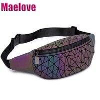 Maelove luminosa fanny packs 2020 novo saco feminino geometria cintura packs ombro peito/cinto bolsa frete grátis Pochetes     -