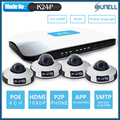 SUNELL EA-92491 4POE 2Mega Pixels 6meter IR mini dome  IP camera/4Channel 720P/1080P NVR IP Security System Kit APP remote view