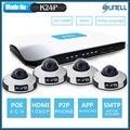Sunell ea-92491 4poe 2 mega píxeles 6 metro ir mini domo cámara ip/4 canales 720 p/1080 p sistema de seguridad nvr ip kit app remote view