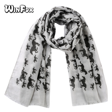 Winfox Fashion Pink Grey Black Unicorn Horse Scarf Womens Animal Print Ladies Wrap Neck Shawl Soft Stole