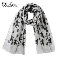 Winfox Fashion Pink Grey Black Unicorn Horse Scarf Womens Animal Print Ladies Wrap Neck Shawl Soft Stole